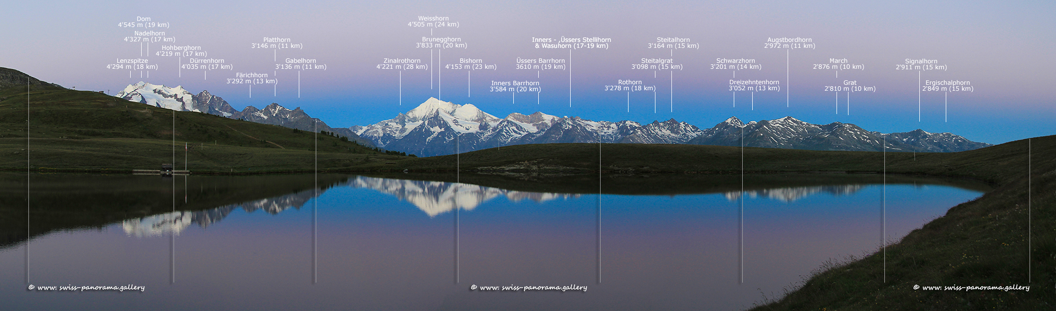 Panorama Gibidumsee,  a morning scenery before sunrise, the Mischabel Group and the Weisshorn reflecting in the lake Gibidum  at twilight.